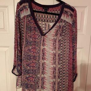 Lucky brand sheer patterned shirt